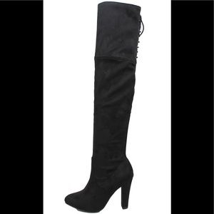 Black back lace tie over the knee dress boot